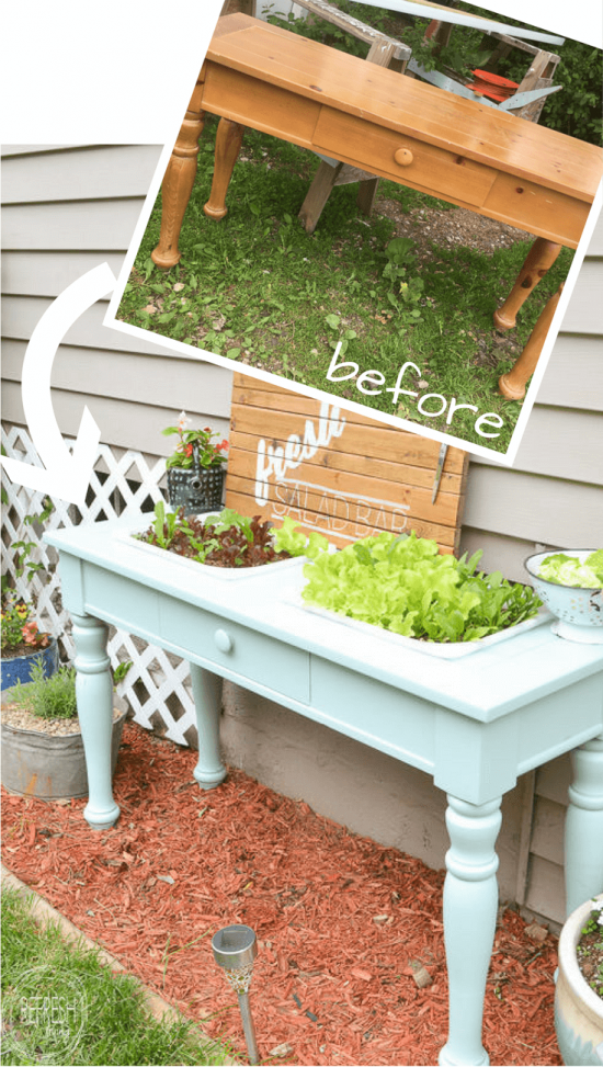 Above Ground Garden Ideas - DIY Raised Garden Bed from an Old Sofa Table by Refresh Living