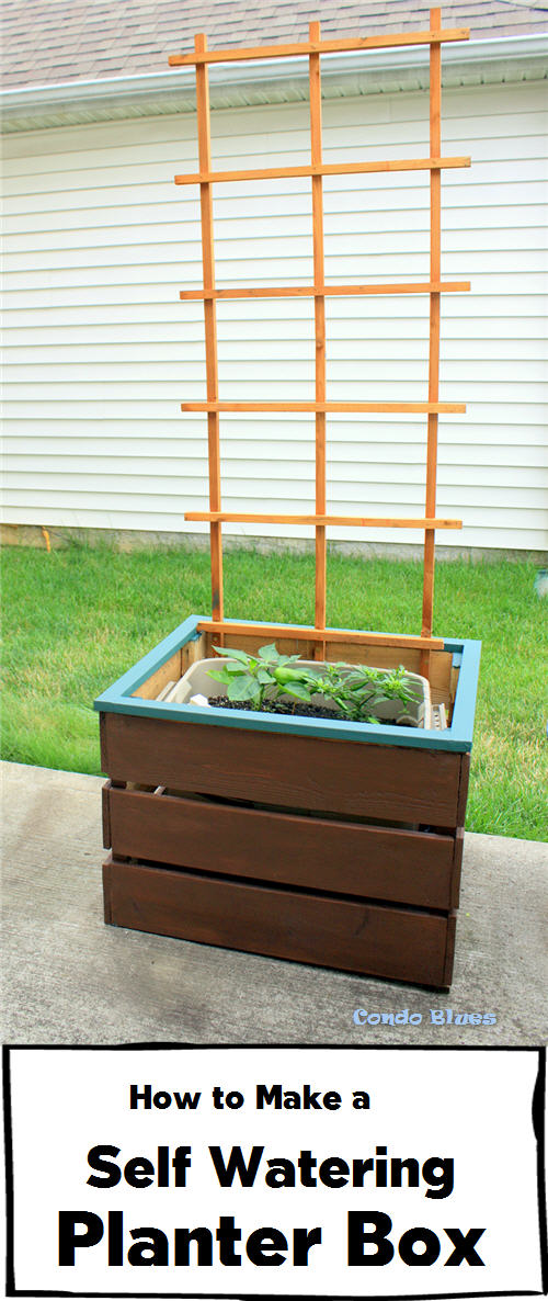 Above Ground Garden Ideas - How to Make a Self Watering Planter Box by Condo Blues