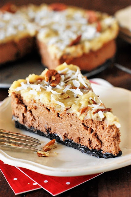 Cheesecake Recipes - German Chocolate Cheesecake by The Kitchen is My Playground