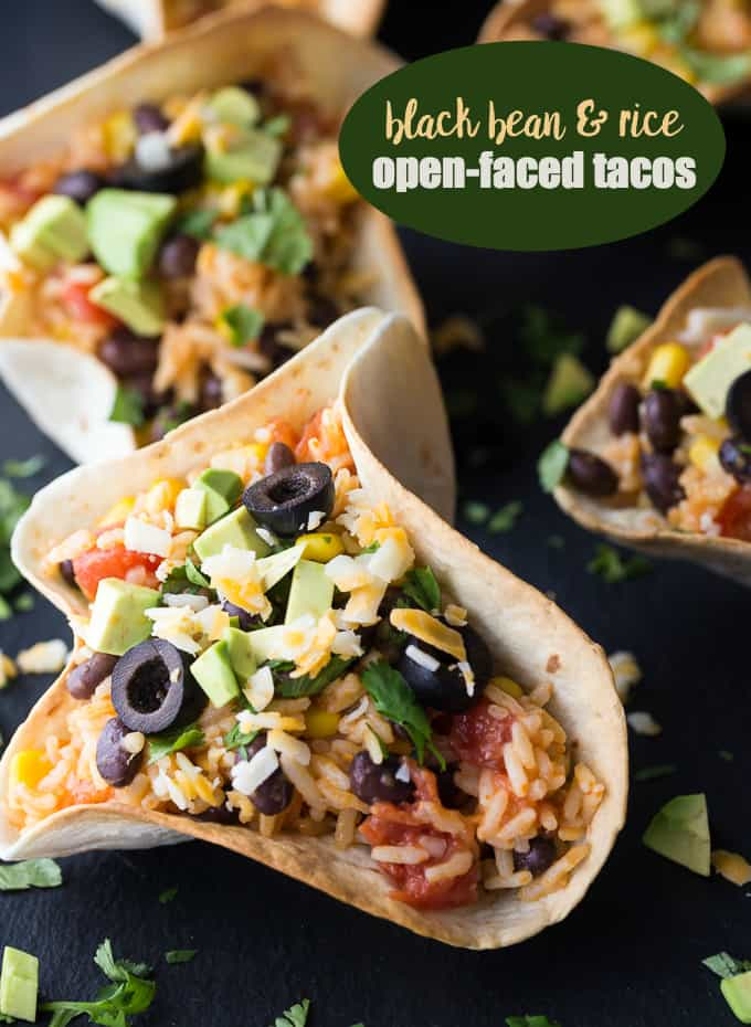 Delicious Taco Recipes - Black Bean Rice Open Faced Tacos by Simply Stacie