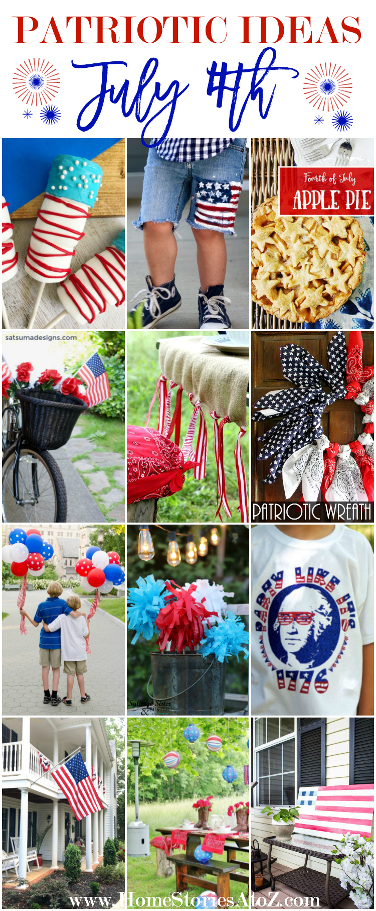 24 Patriotic Ideas for July 4th - Great Ideas for porch decor, entertaining, food, and crafts!