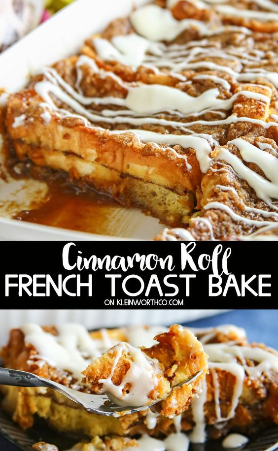 Mother's Day Brunch Ideas - Cinnamon Roll French Toast Bake by Kleinworth & Co.