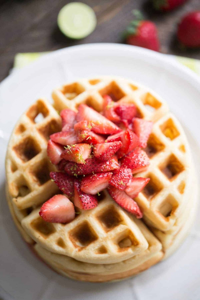 Mother's Day Brunch Ideas - Key Lime Homemade Waffles with Strawberry Topping by Lemons for Lulu