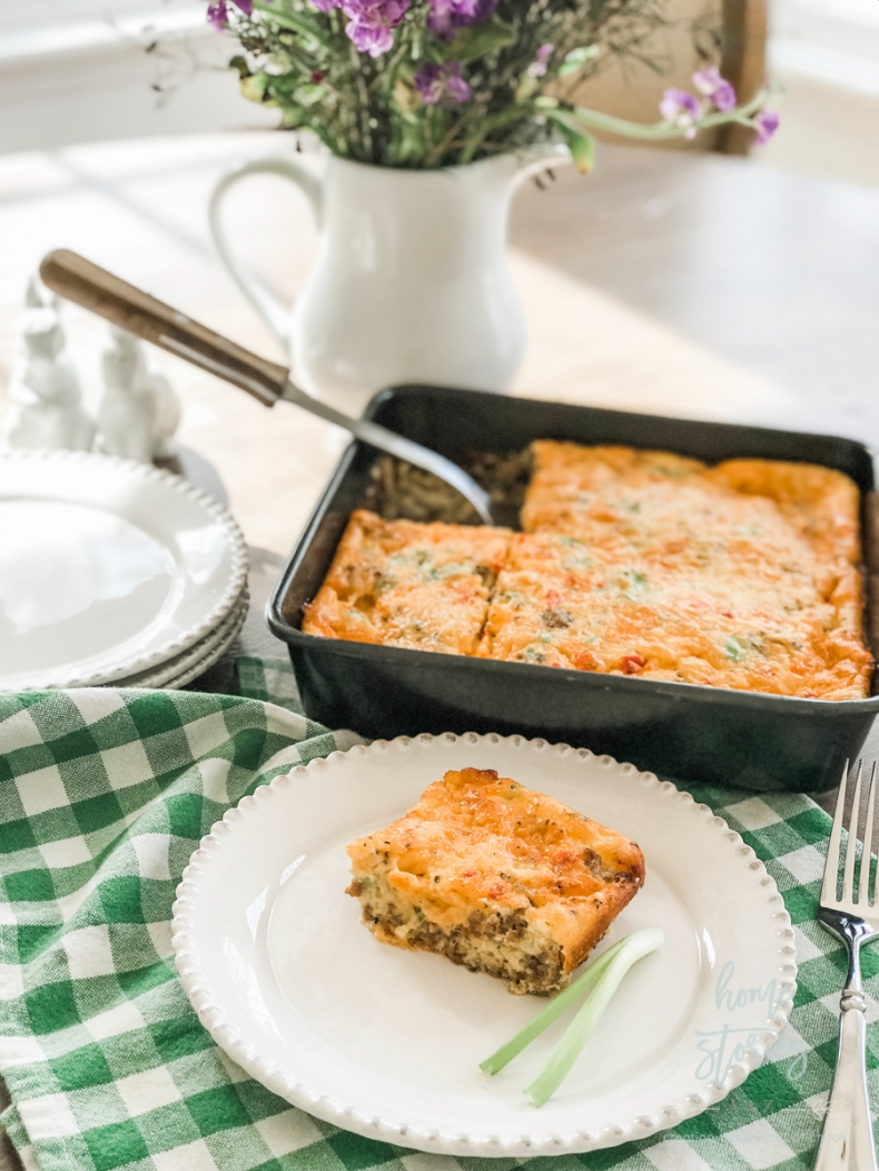 Mother's Day Brunch Ideas - Sausage, Egg, and Pimento Cheese Keto Friendly Casserole by Home Stories A to Z