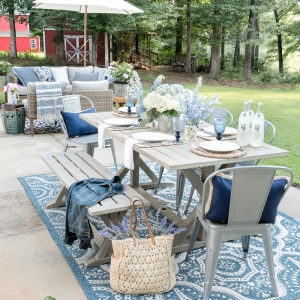 Outdoor Decorating for Spaces of All Sizes - Decorating on a Concrete Slab by Home Stories A to Z