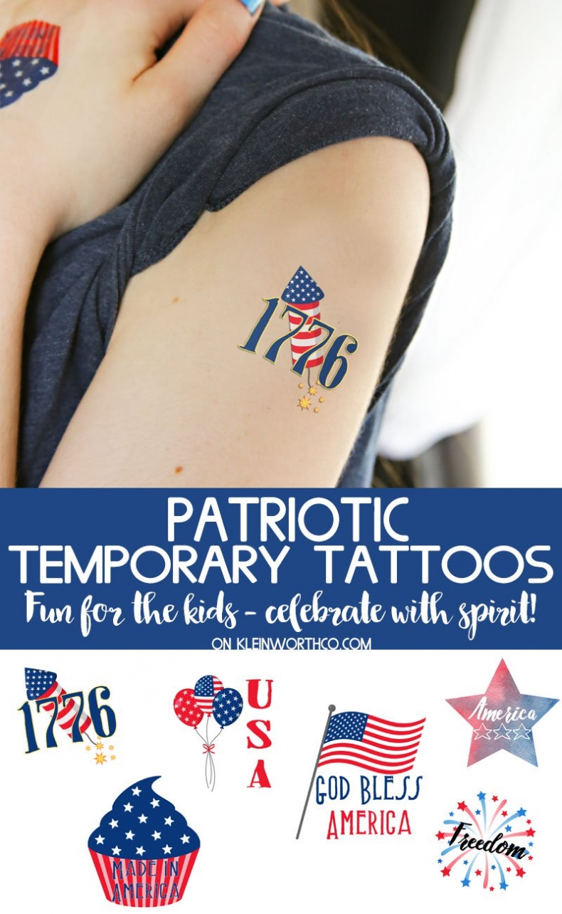 Patriotic Decor for July 4th - Free Printable Temporary Tattoo by Kleinworth & Co