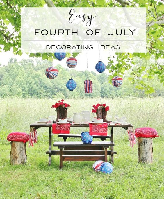 Patriotic Decor for July 4th - Outdoor Tablescape for July 4th by Thistlewood Farm