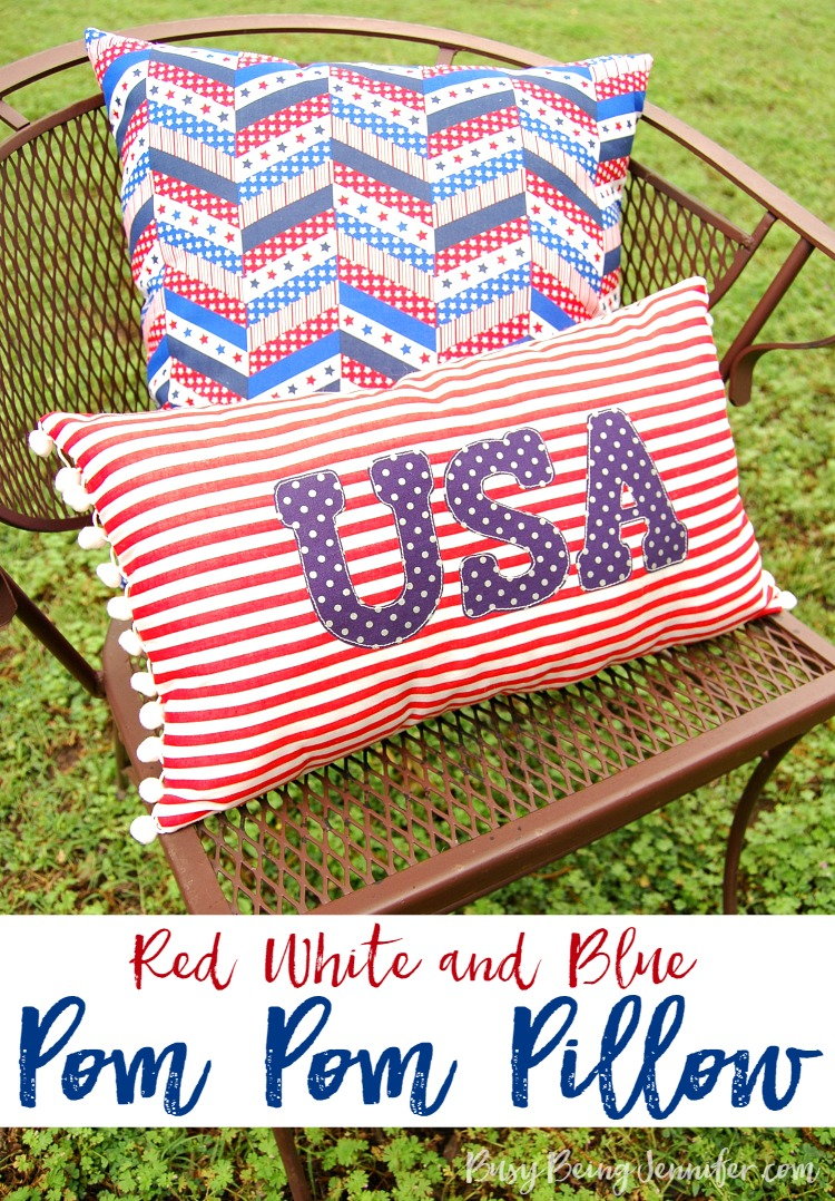 Patriotic Decor for July 4th - Red White and Blue Pom Pom Pillow by Busy Being Jennifer