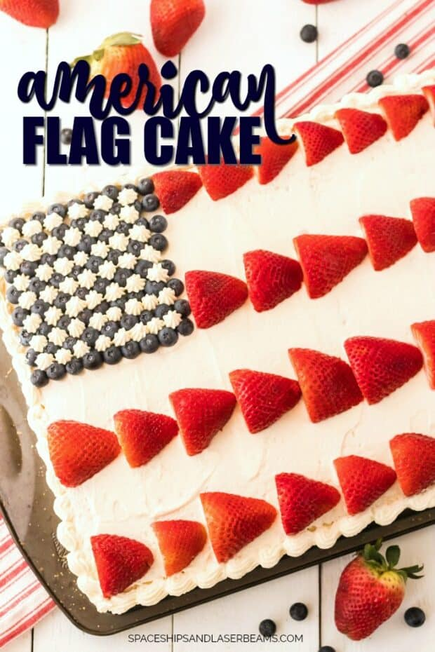 Patriotic Projects for July 4th - American flag cake by Spaceships and Laser Beams