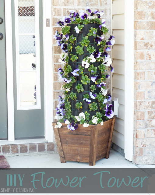 Unique Container Garden Ideas for your Porch or Patio - DIY Flower Tower by Simply Designing