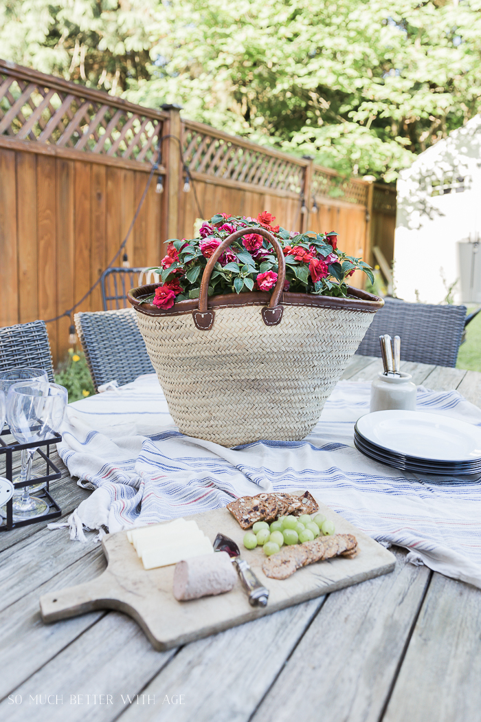 Unique Container Garden Ideas for your Porch or Patio - French Basket Centerpiece by So Much Better with Age