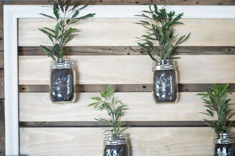 Unique Container Garden Ideas for your Porch or Patio - Mason Jar Plant Holder by North Country Nest