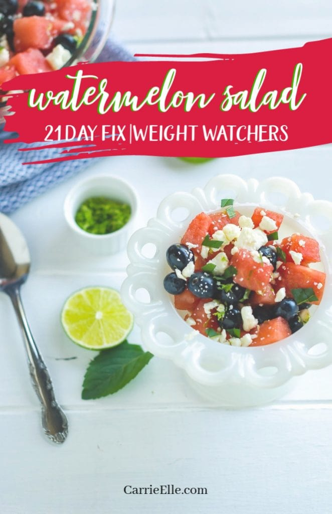 80+ Best Summer Recipes - 21 Day Fix Watermelon Salad by Carrie Elle