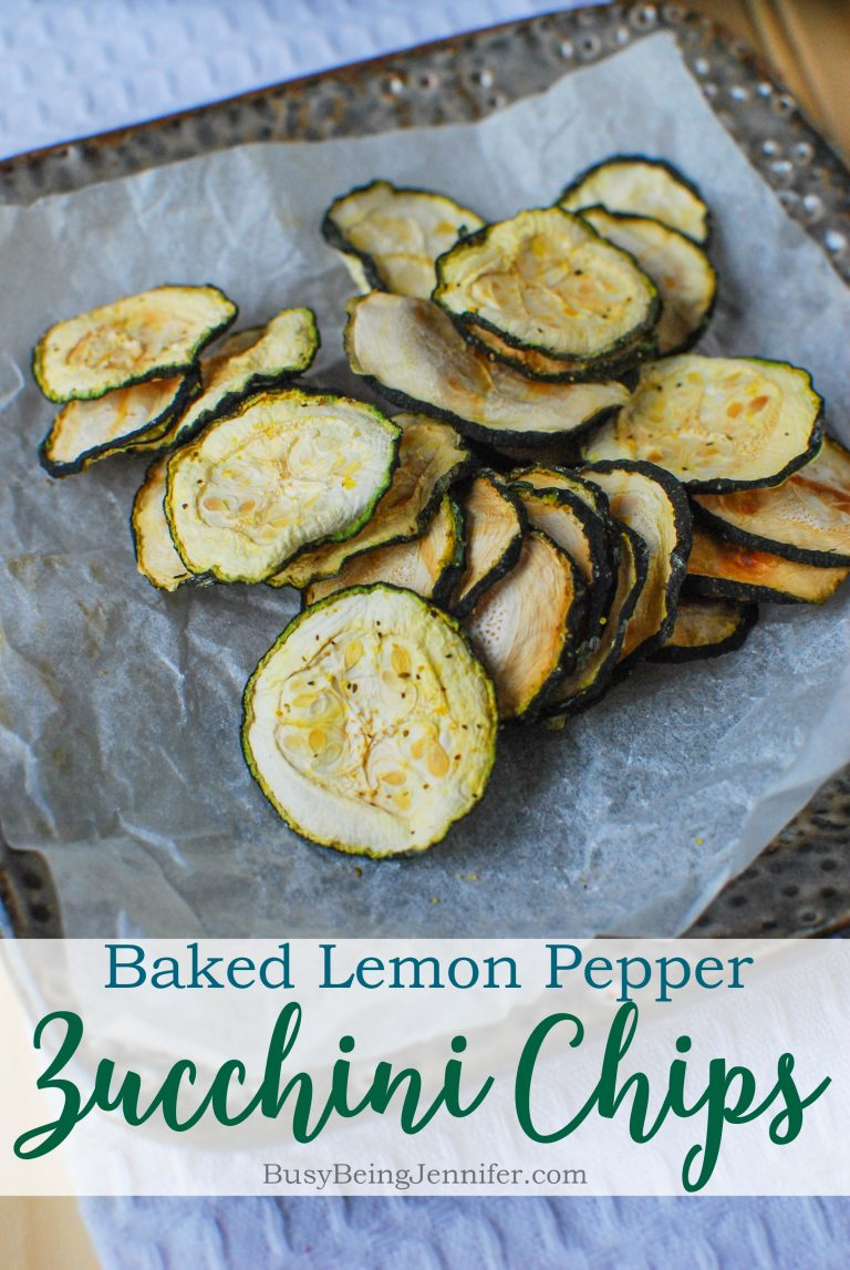 80+ Best Summer Recipes - Baked Lemon Pepper Zucchini Chips by Busy Being Jennifer