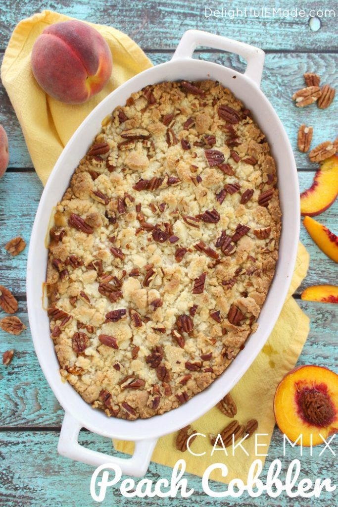 80+ Best Summer Recipes - Cake Mix Peach Cobbler by Delightful E Made