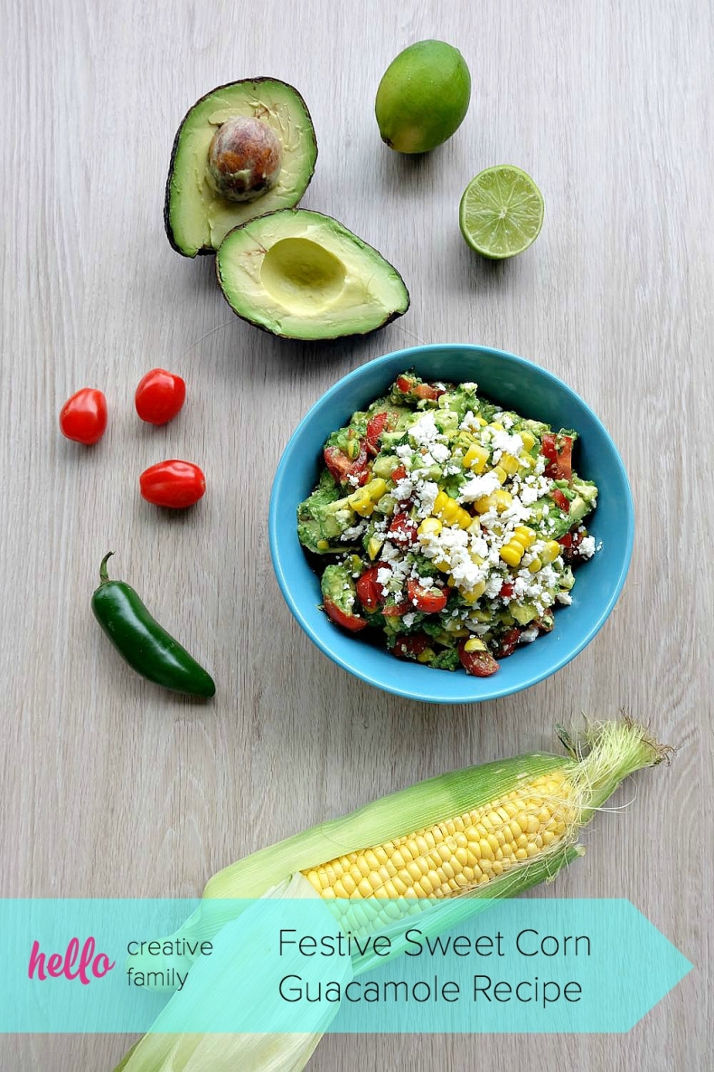 80+ Best Summer Recipes - Fiesta Sweet Corn Guacamole Recipe by Hello Creative Family