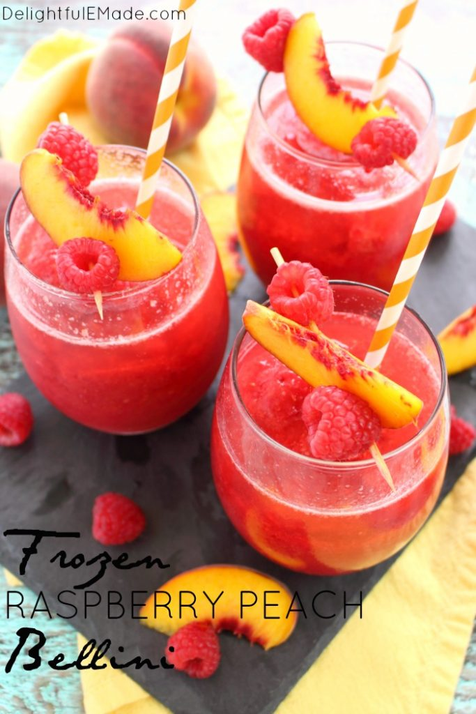 80+ Best Summer Recipes - Frozen Peach Bellini by Delightful E Made
