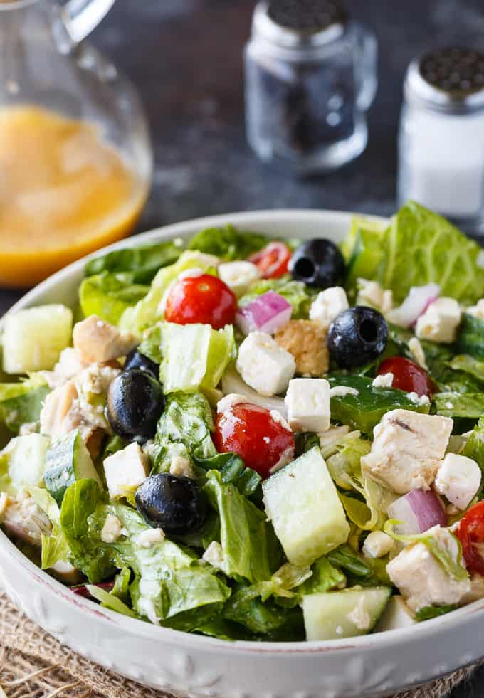 80+ Best Summer Recipes - Greek Chicken Salad by Simply Stacie