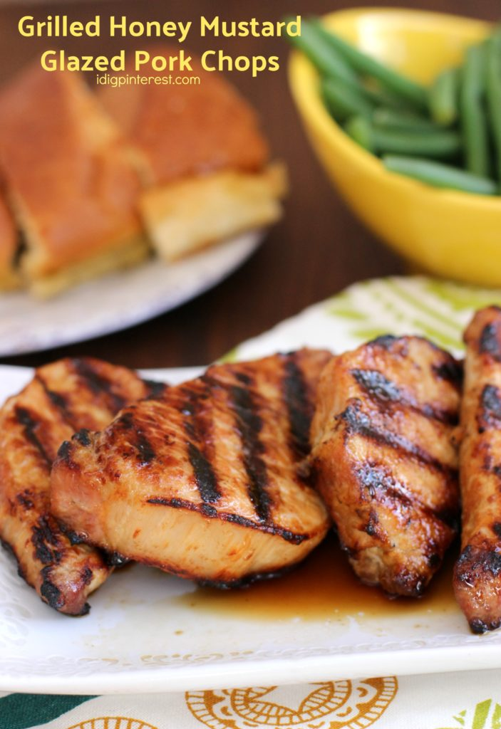 80+ Best Summer Recipes - Grilled Honey Mustard Glazed Pork Chops by I Dig Pinterest