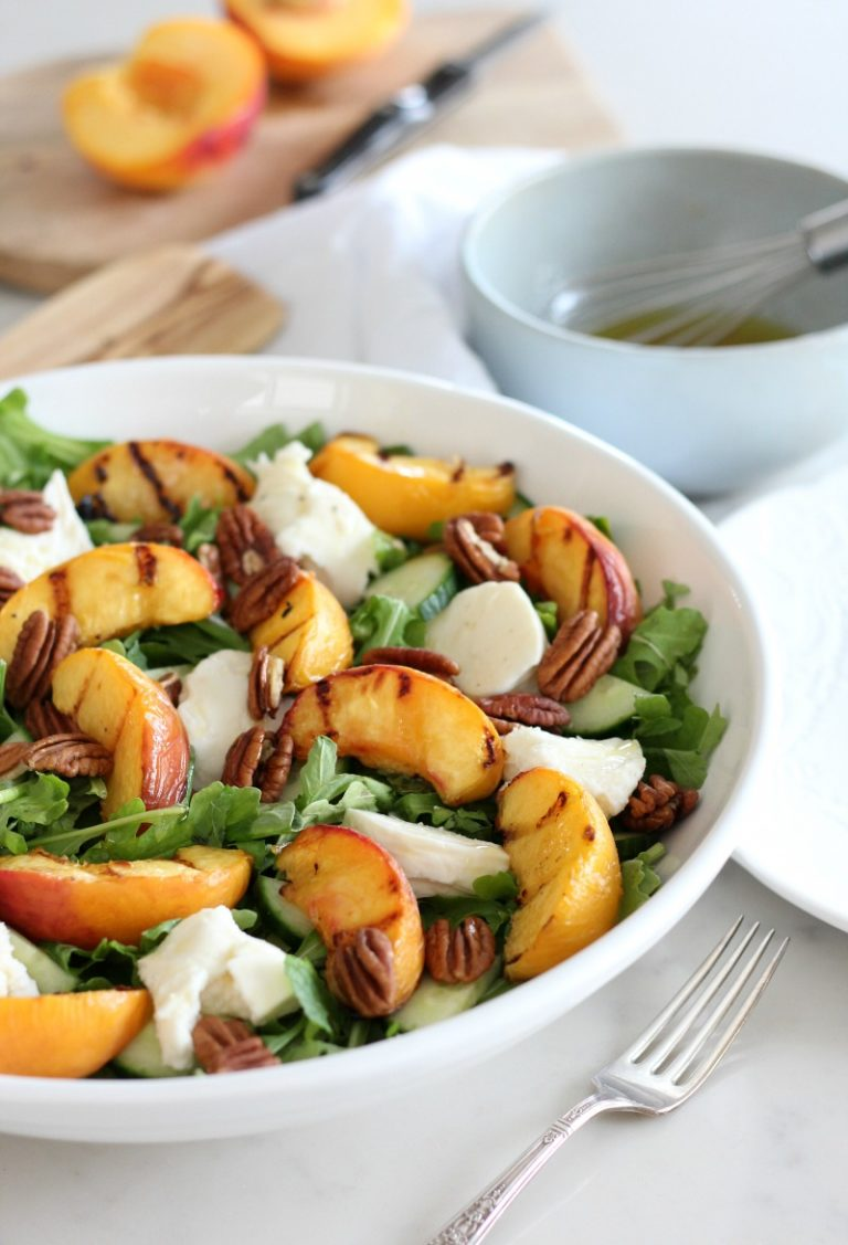 80+ Best Summer Recipes - Grilled Peach Summer Salad with Maple Vinaigrette