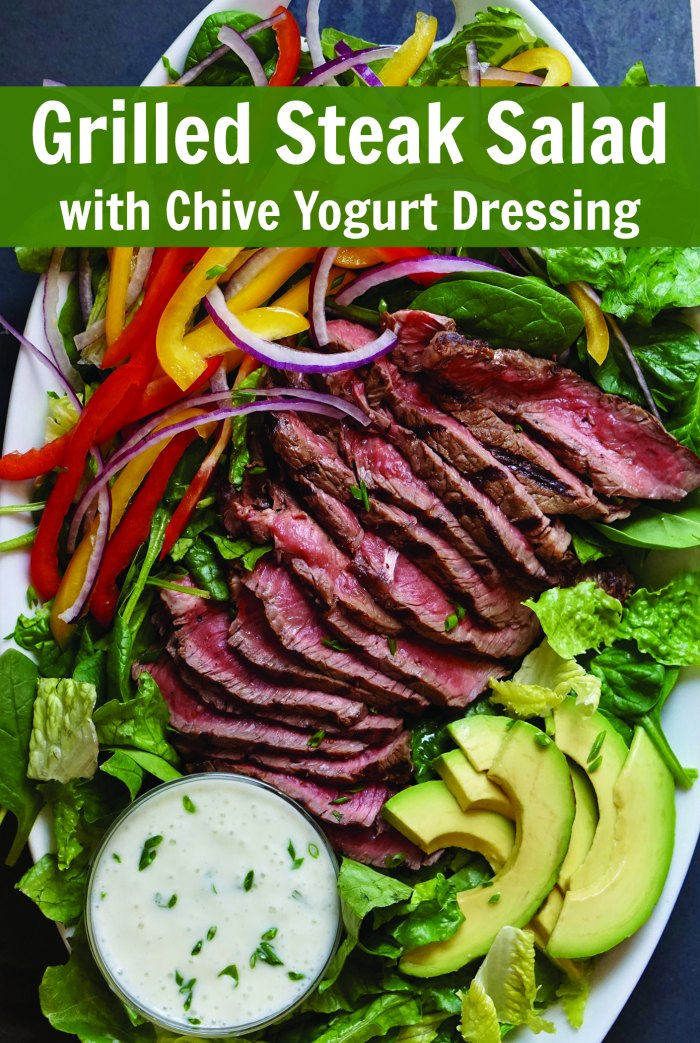 80+ Best Summer Recipes - Grilled Steak Salad by Mommy Evolution
