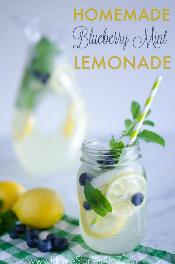 80+ Best Summer Recipes - Homemade Bluebery Mint Lemonade Recipe by Home Stories A to Z