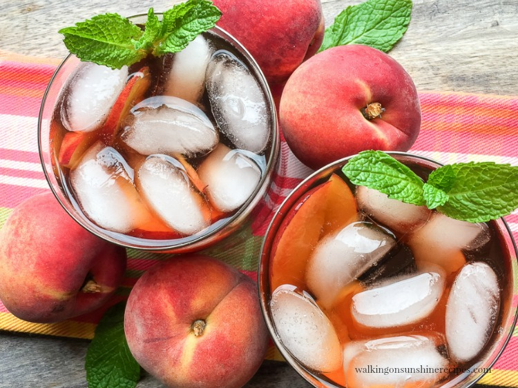 80+ Best Summer Recipes - Homemade Peach Iced Tea by Walking on Sunshine