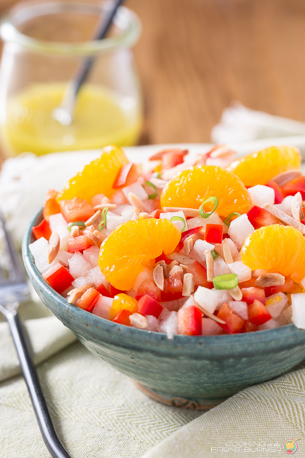 80+ Best Summer Recipes - Jicama Orange Red Pepper Salad with Asian Vinaigrette