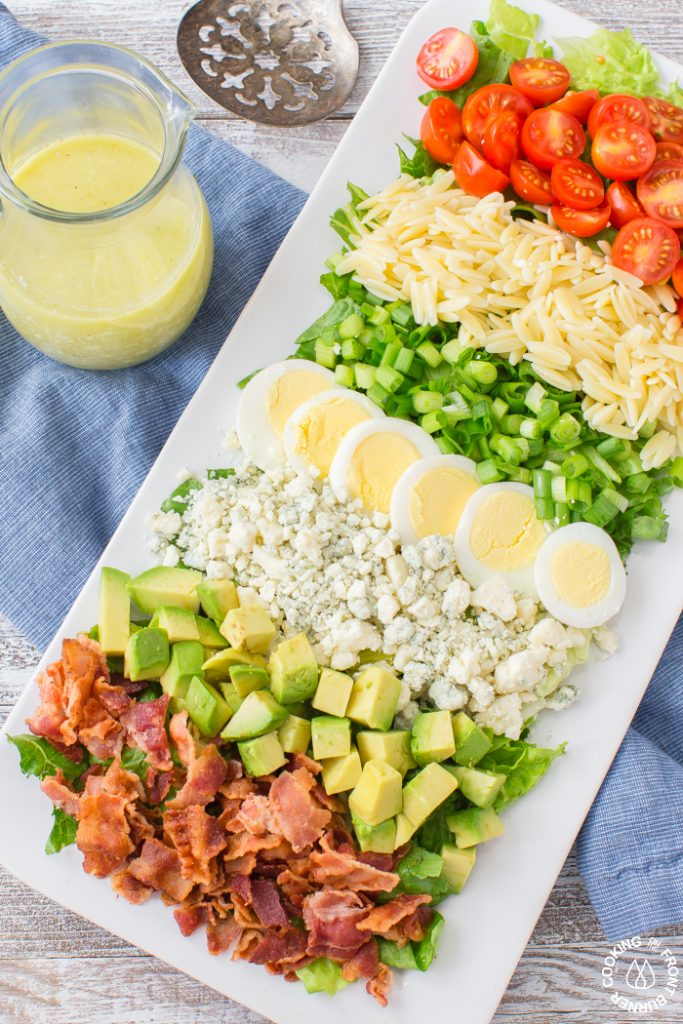 80+ Best Summer Recipes - Orzo Cobb Salad with Blue Cheese Vinaigrette by Cooking on the Front Burners