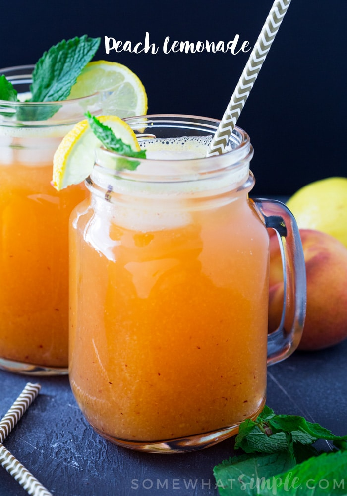 80+ Best Summer Recipes - Peach Lemonade by Somewhat Simple