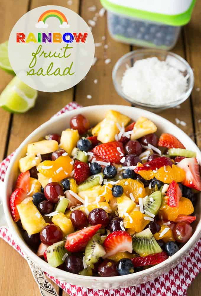 80+ Best Summer Recipes - Rainbow Fruit Salad by Simply Stacie