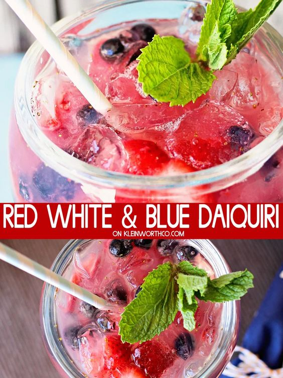 80+ Best Summer Recipes - Red White and Blue Daiquiri by Kleinworth & Co.