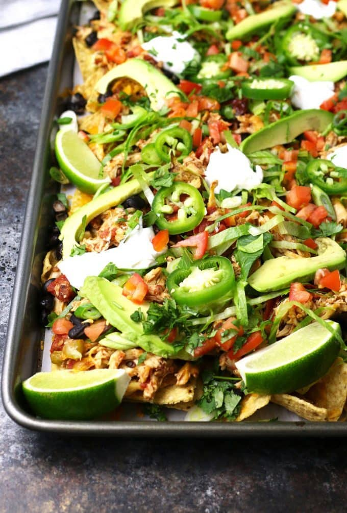 80+ Best Summer Recipes - Sheet Pan Loaded Chicken Nachos by Honey & Birch