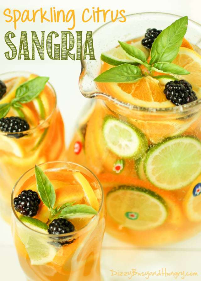 80+ Best Summer Recipes - Sparkling Citrus Sangria by Dizzy Busy and Hungry