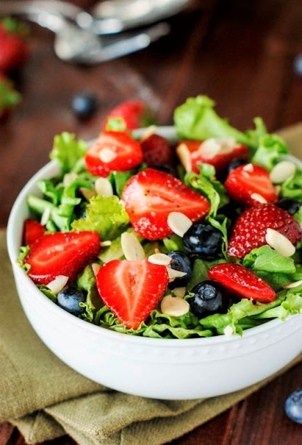 80+ Best Summer Recipes - Strawberry Blueberry Greens Salad by The Kitchen in My Playground