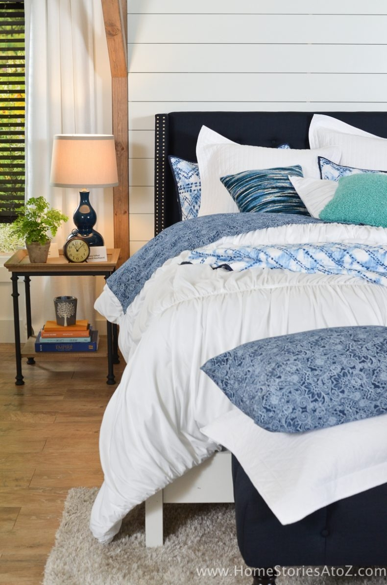 Gorgeous Blue Bedroom Decor Ideas - Blue Headboard by Better Homes and Gardens - Home Stories A to Z
