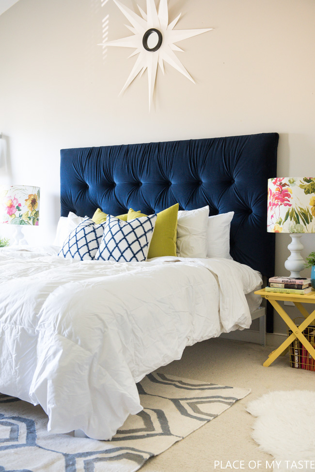 Gorgeous Blue Bedroom Decor Ideas - Blue Tufted Headboard by Place of My Taste