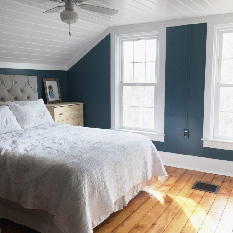 Gorgeous Blue Bedroom Decor Ideas - Calming Master Bedroom Update with Planked Ceiling by White House Black Shutters