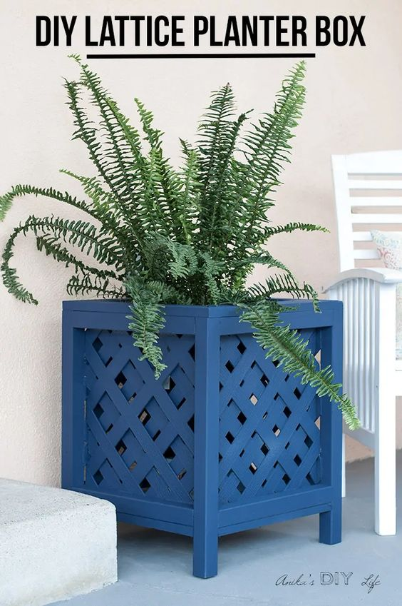 How to Build a Wooden Planter - DIY Lattice Planter Box by Anika's DIY Life
