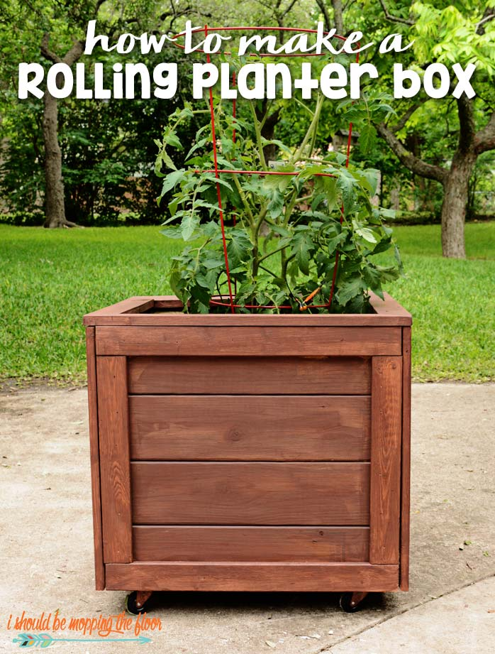 How to Build a Wooden Planter - DIY Planter Box with Wheels by I Should be Mopping the Floor