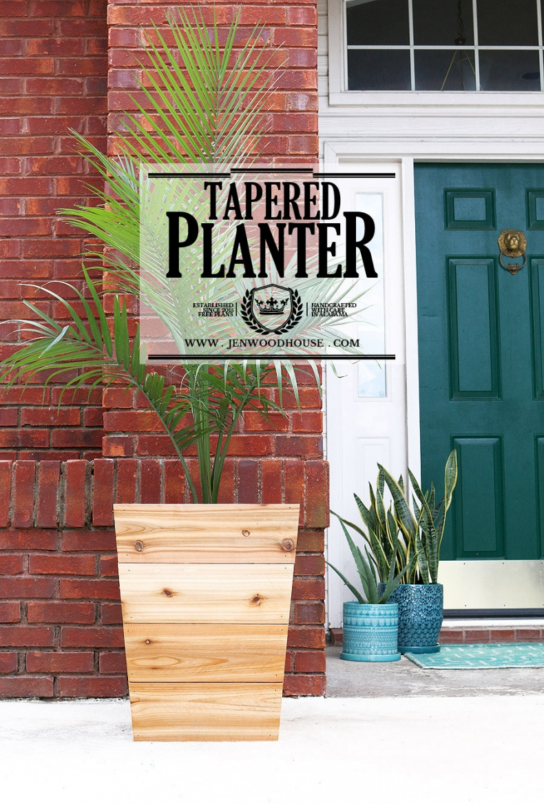 How to Build a Wooden Planter - DIY Tapered Cedar Planter by Jen Woodhouse