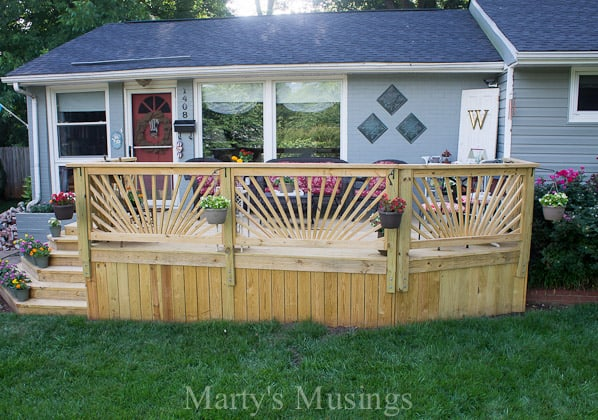 Affordable Home Exterior Renovations - Improving Curb Appeal Deck Reveal AFTER by Marty's Musings