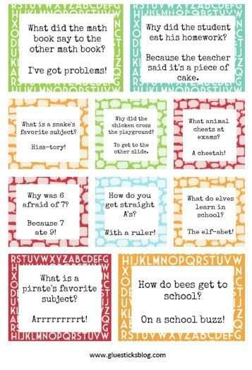 Back To School Fun Ideas - Printable Lunch Box Jokes by Gluesticks Blog