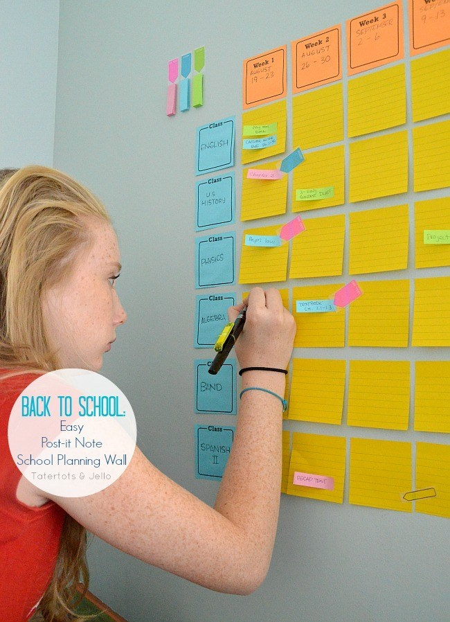 Back to School Fun Ideas - Easy Post It Wall School Planning by Tater Tots and Jello