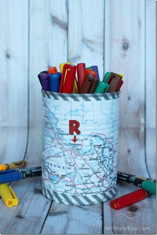 Back to School Fun Ideas - Mod Podge and Washi Tape Pencil Holder by Setting for Four