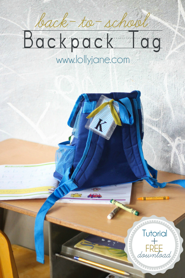 Back to School Fun Ideas - School Backpack Tag by Lolly Jane