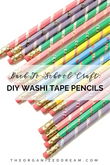 Fun Back to School Ideas - DIY Washi Tape Pencils by The Organized Dream
