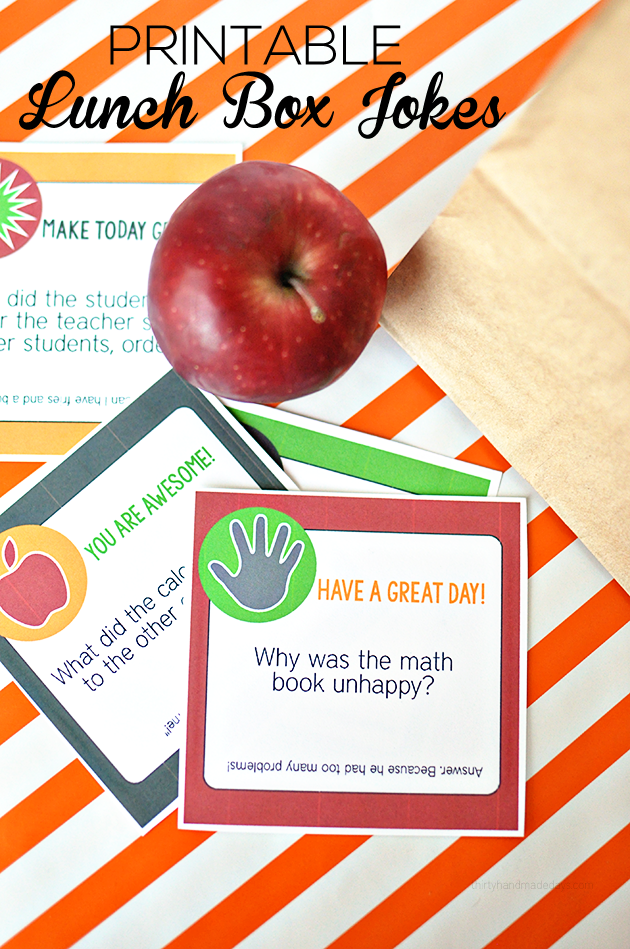 Fun Back to School Ideas - Printable Lunch Box Jokes for School by Thirty Handmade Days