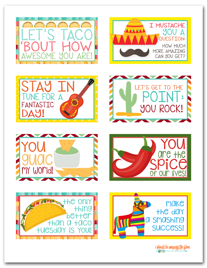 Fun Back to School Ideas - Taco Tuesday Lunch Notes by I Should be Mopping the Floor