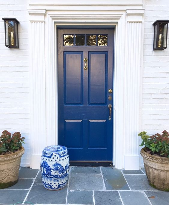 Beautiful Front Door Paint Color Ideas - Blue Door Living